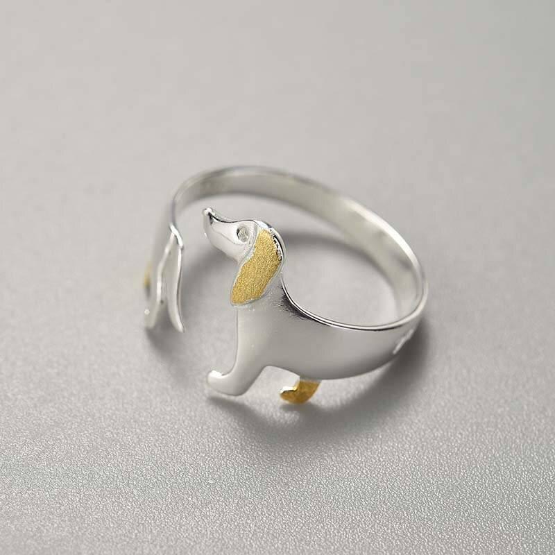 Ein Dackel für Hundeliebhaber! Offener, teilvergoldeter Silberring   925 Ringe 925 Silber Fingerringe Gravur 3