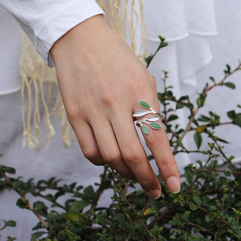 Offener Fingerring mit Blättern und grünem Aventurin   925 Ringe 925 Silber Fingerringe Rinde 5