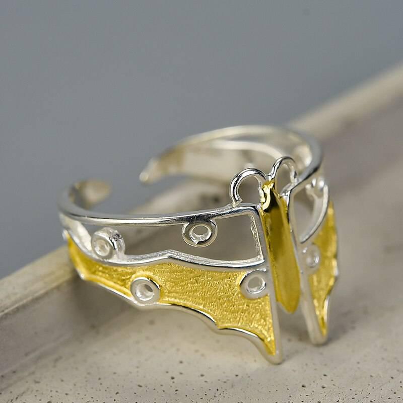 Schmetterling, offener, teilvergoldeter Silberring   925 Ringe 925 Silber Fingerringe 2