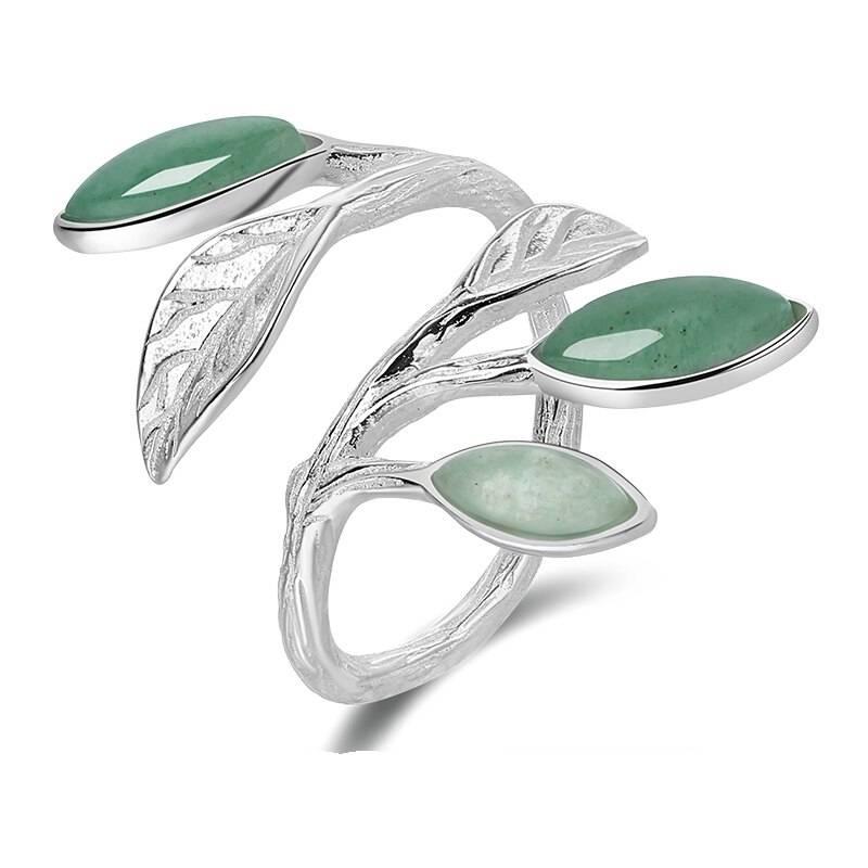 Offener Fingerring mit Blättern und grünem Aventurin   925 Ringe 925 Silber Fingerringe Rinde
