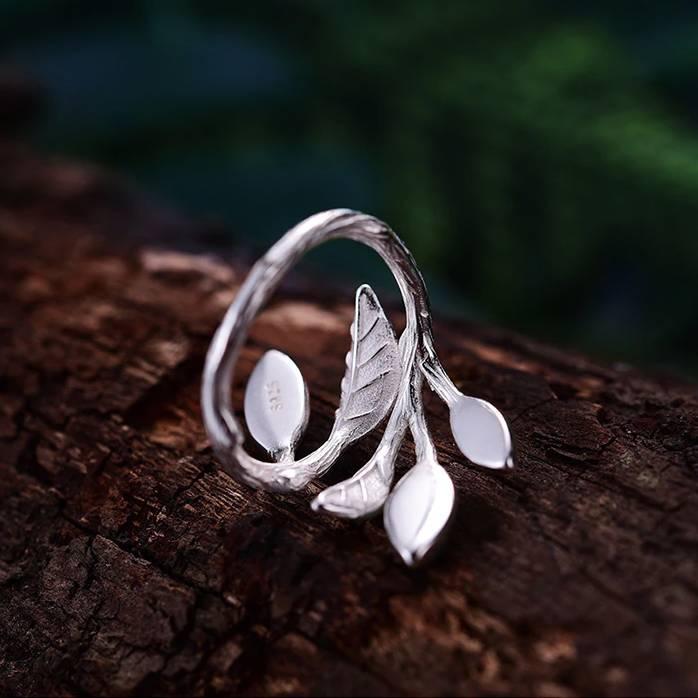 Offener Fingerring mit Blättern und grünem Aventurin   925 Ringe 925 Silber Fingerringe Rinde 3