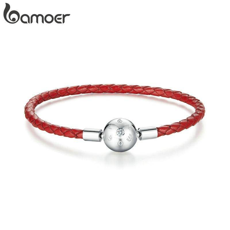 Rotes Leder-Armband mit Silberkugel, auch für Charms (17/19cm) | 925 Armband 925 Armbänder
