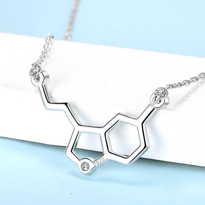 Serotonin Glückshormon, chemische Formel mit Zirkonia | 925 Halskette 925 Halsketten Chemie 4
