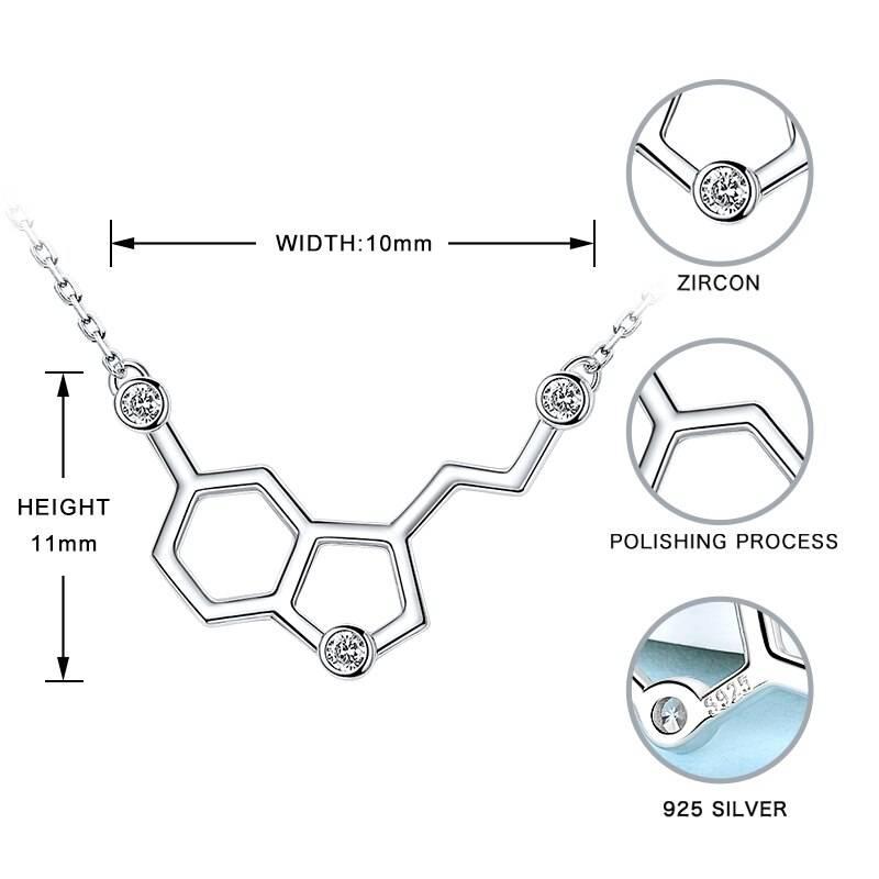 Serotonin Glückshormon, chemische Formel mit Zirkonia | 925 Halskette 925 Halsketten Chemie 6
