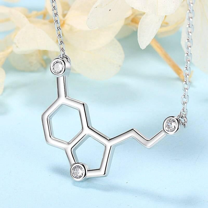 Serotonin Glückshormon, chemische Formel mit Zirkonia | 925 Halskette 925 Halsketten Chemie 5