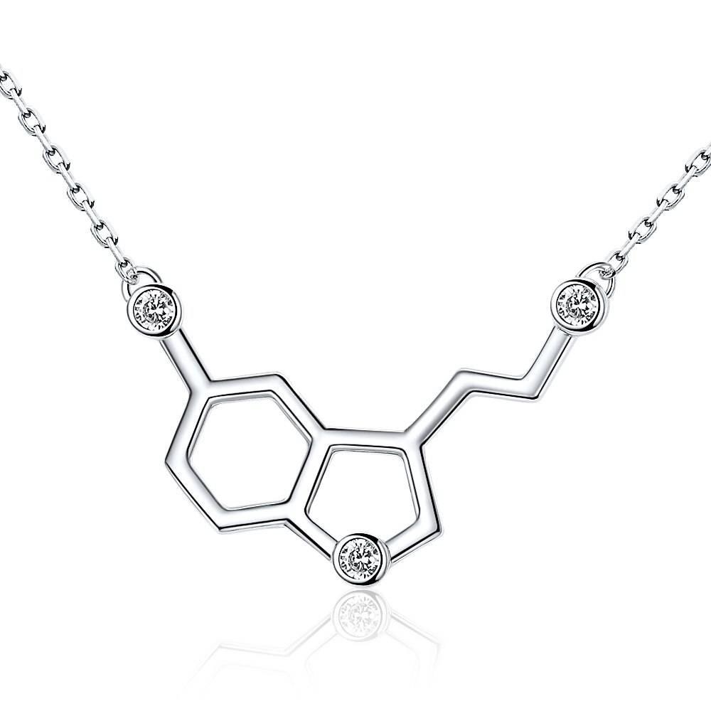 Serotonin Glückshormon, chemische Formel mit Zirkonia | 925 Halskette 925 Halsketten Chemie