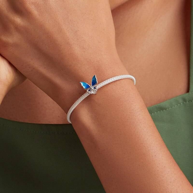 Großer, blau funkelnder Schmetterling, Stopperperle   925 Beads 925 Perlen Beads 4