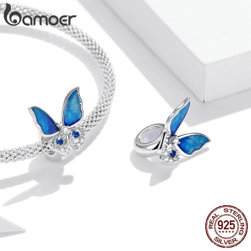Großer, blau funkelnder Schmetterling, Stopperperle   925 Beads 925 Perlen Beads 2