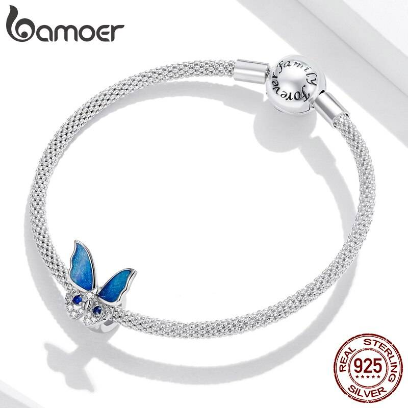 Großer, blau funkelnder Schmetterling, Stopperperle   925 Beads 925 Perlen Beads 3