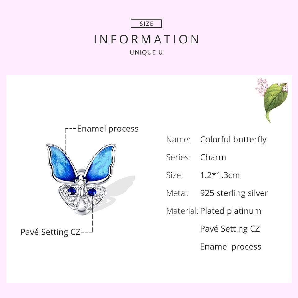 Großer, blau funkelnder Schmetterling, Stopperperle   925 Beads 925 Perlen Beads 5