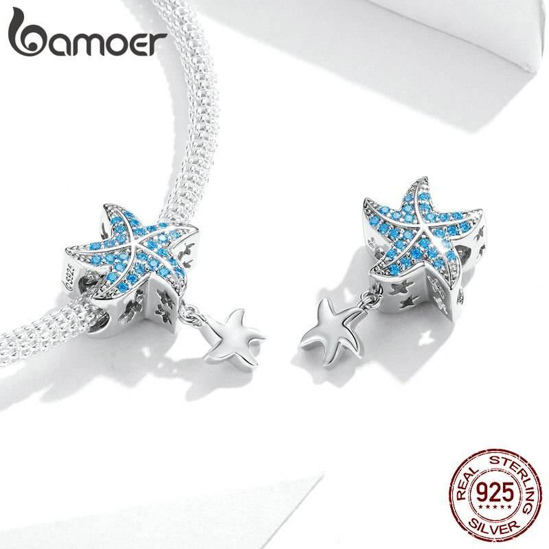 Blauer Zirkonia-Seestern mit Silber-Seesternchen | 925 Dangle Beads 925 Dangle Beads Seestern 3