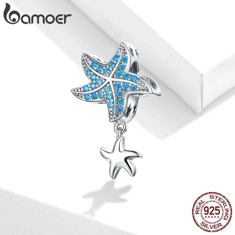 Blauer Zirkonia-Seestern mit Silber-Seesternchen | 925 Dangle Beads 925 Dangle Beads Seestern 2
