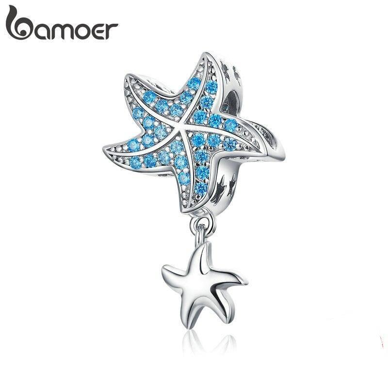 Blauer Zirkonia-Seestern mit Silber-Seesternchen | 925 Dangle Beads 925 Dangle Beads Seestern