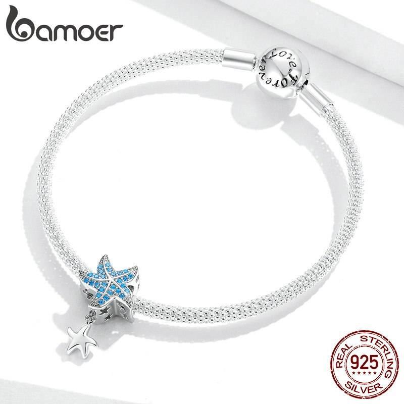 Blauer Zirkonia-Seestern mit Silber-Seesternchen | 925 Dangle Beads 925 Dangle Beads Seestern 4