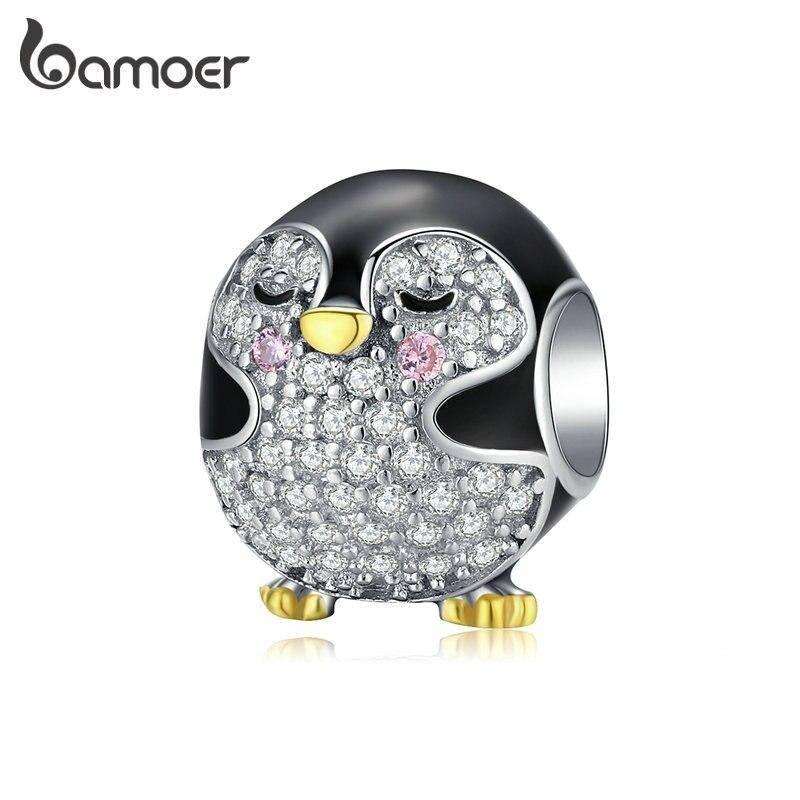 Emaillierter Pinguin mit funkelndem Bauch und goldenem Schnabel   925 Beads 925 Perlen Beads Pinguin