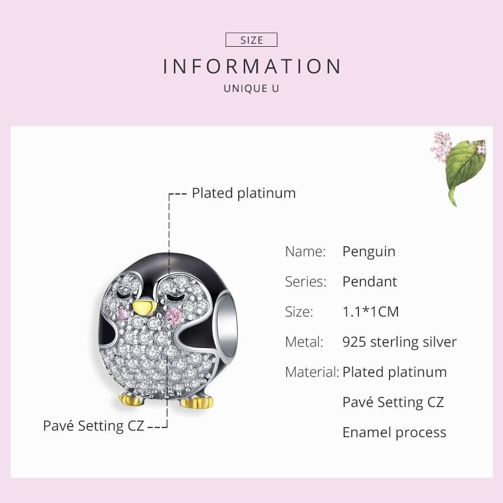 Emaillierter Pinguin mit funkelndem Bauch und goldenem Schnabel   925 Beads 925 Perlen Beads Pinguin 5