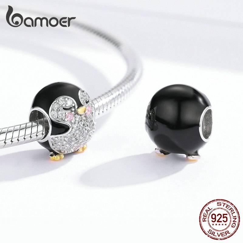 Emaillierter Pinguin mit funkelndem Bauch und goldenem Schnabel   925 Beads 925 Perlen Beads Pinguin 3