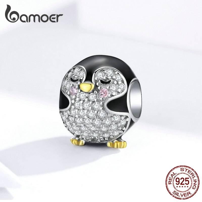 Emaillierter Pinguin mit funkelndem Bauch und goldenem Schnabel   925 Beads 925 Perlen Beads Pinguin 2
