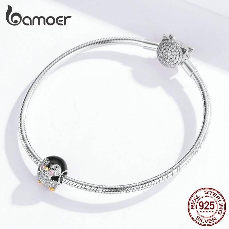Emaillierter Pinguin mit funkelndem Bauch und goldenem Schnabel   925 Beads 925 Perlen Beads Pinguin 4