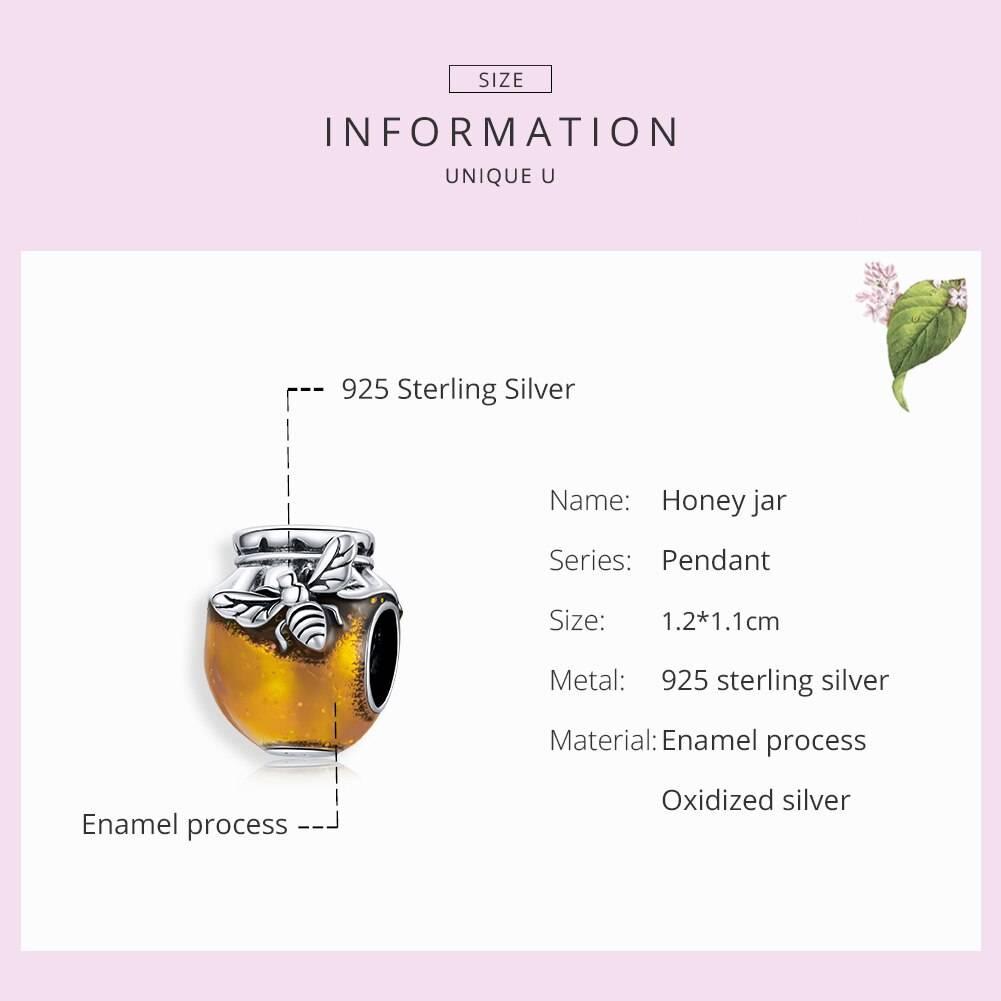 Großer Honigtopf, Gold emailliertes Honig-Glas mit Biene   925 Beads 925 Perlen Beads 6