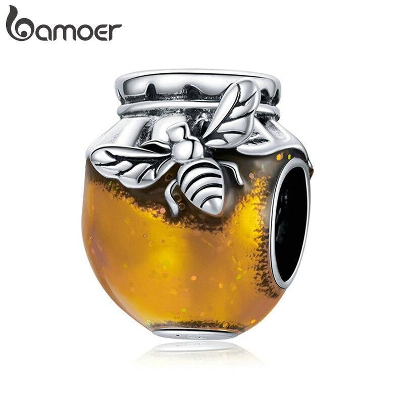 Großer Honigtopf, Gold emailliertes Honig-Glas mit Biene   925 Beads 925 Perlen Beads