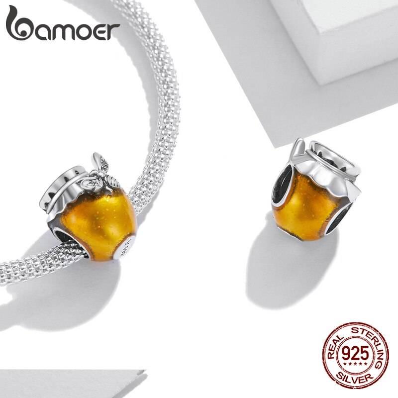 Großer Honigtopf, Gold emailliertes Honig-Glas mit Biene   925 Beads 925 Perlen Beads 3