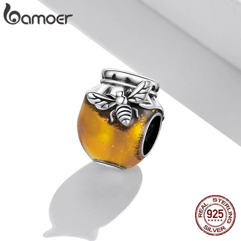 Großer Honigtopf, Gold emailliertes Honig-Glas mit Biene   925 Beads 925 Perlen Beads 2