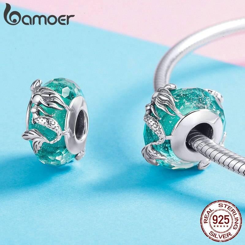 Türkis-blaue Glasperle mit Meerjungfrau oder Nixe | 925 Beads 925 Perlen Beads Meerjungfrau 3