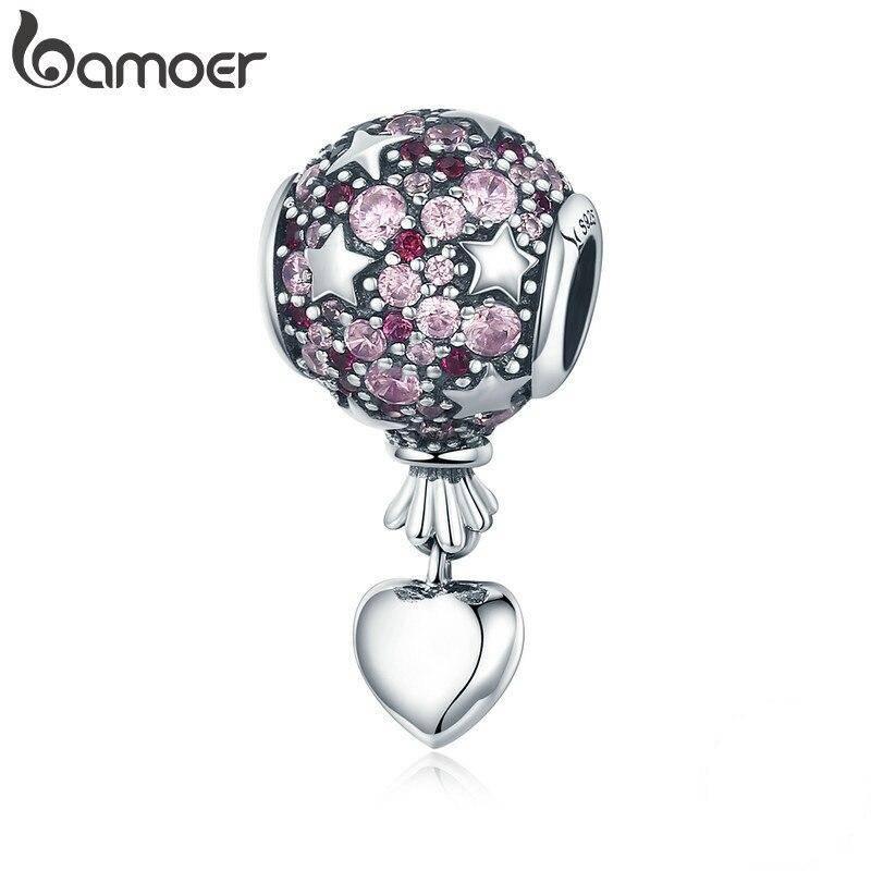 Ballon, Rosa funkelnde runde Stern-Perle mit Herz-Anhänger | 925 Dangle Beads 925 Dangle Beads Ballon