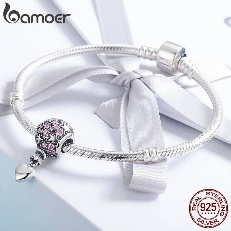 Ballon, Rosa funkelnde runde Stern-Perle mit Herz-Anhänger | 925 Dangle Beads 925 Dangle Beads Ballon 4