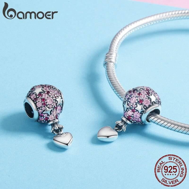 Ballon, Rosa funkelnde runde Stern-Perle mit Herz-Anhänger | 925 Dangle Beads 925 Dangle Beads Ballon 3