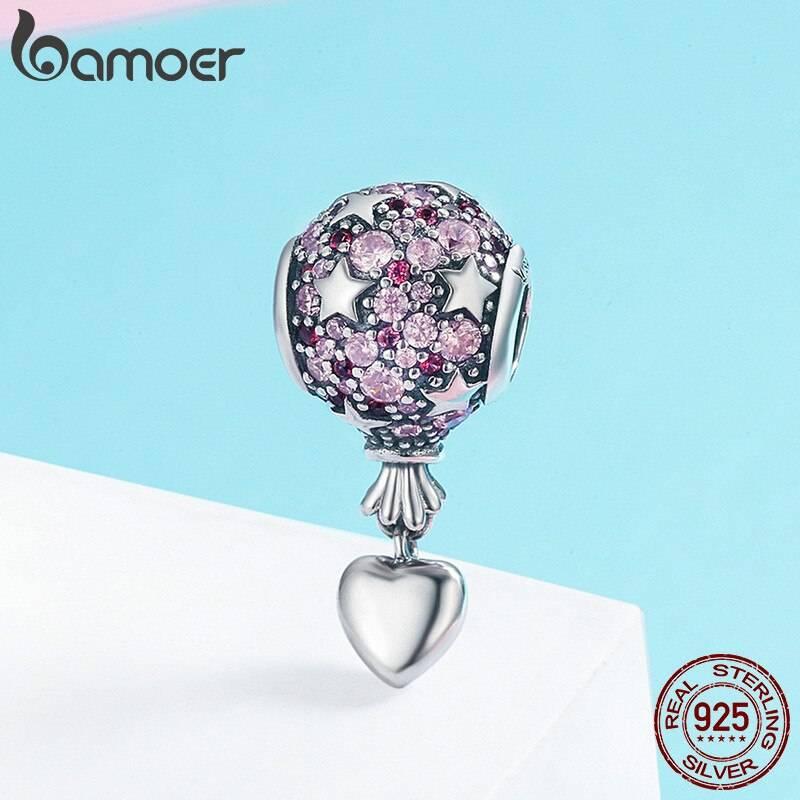 Ballon, Rosa funkelnde runde Stern-Perle mit Herz-Anhänger | 925 Dangle Beads 925 Dangle Beads Ballon 2