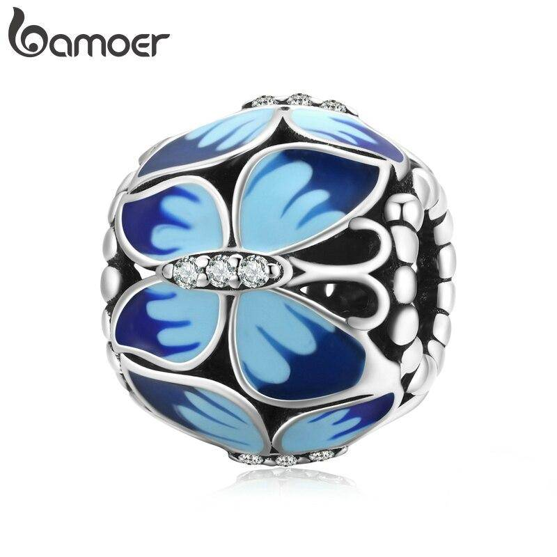 Große, Blau emaillierte Schmetterlings-Perle, ca. 4,5mm | 925 Beads 925 Perlen Beads