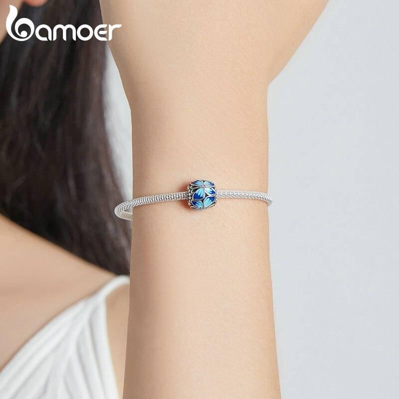 Große, Blau emaillierte Schmetterlings-Perle, ca. 4,5mm | 925 Beads 925 Perlen Beads 5