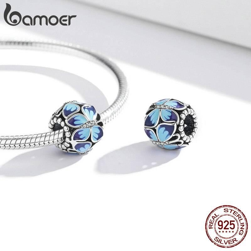 Große, Blau emaillierte Schmetterlings-Perle, ca. 4,5mm | 925 Beads 925 Perlen Beads 2