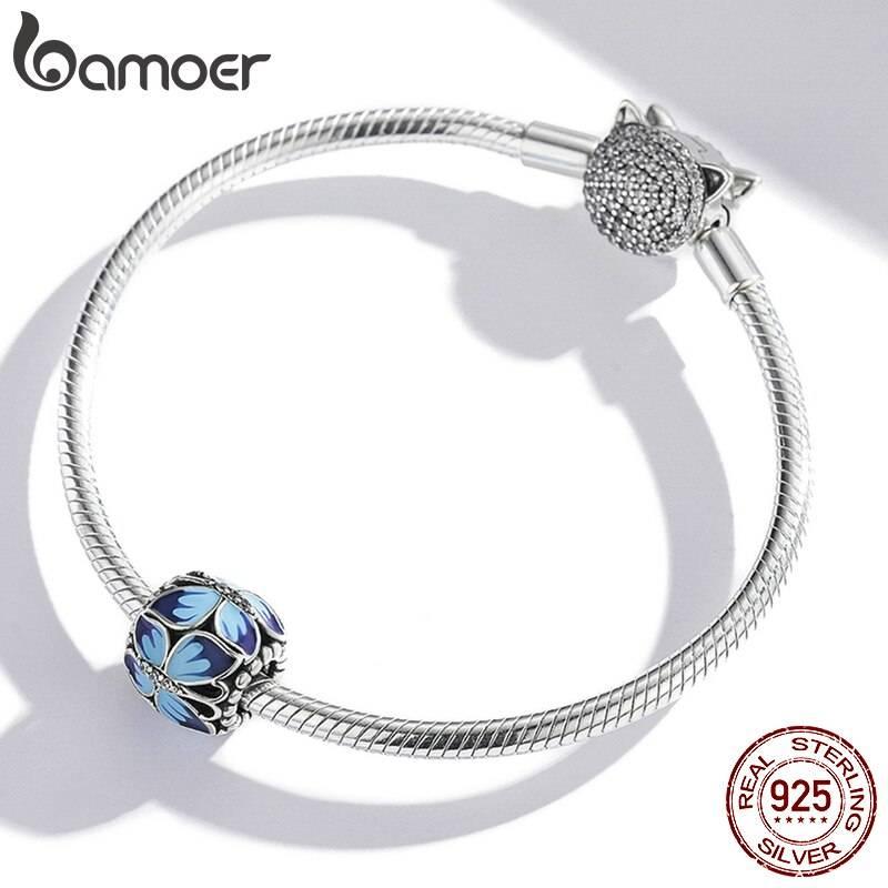 Große, Blau emaillierte Schmetterlings-Perle, ca. 4,5mm | 925 Beads 925 Perlen Beads 3