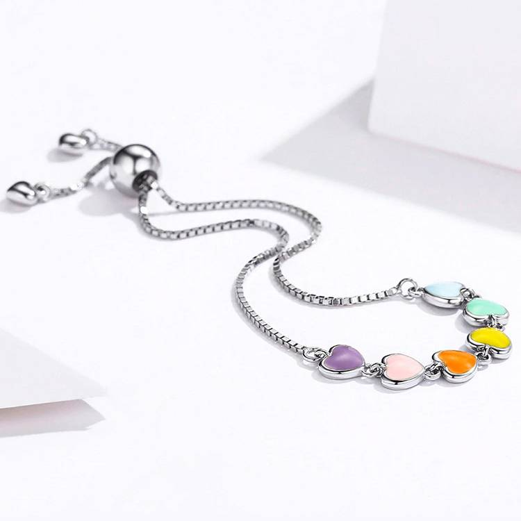 Bunt emaillierte Herzen an Silber-Armkette mit Slider | 925 Armband 925 Armbänder Liebe 4