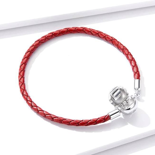 Rotes Leder-Armband mit Silberkugel, auch für Charms (17/19cm) | 925 Armband 925 Armbänder 3