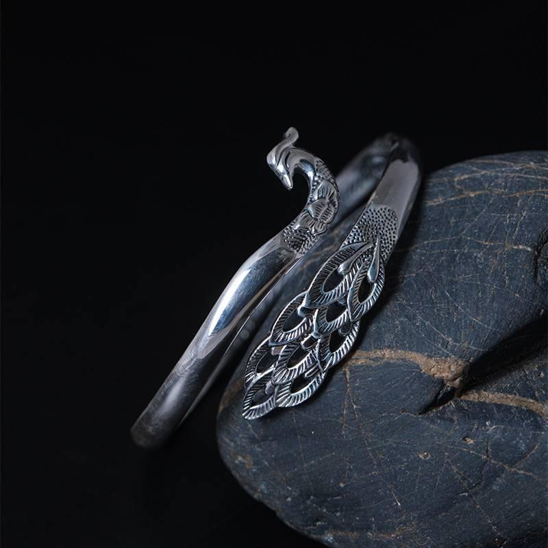 "Offener Armreif ""Pfau"", matt oder poliert, mit Fingerring   925 Armreifen 925 Armreifen Vintage 2"